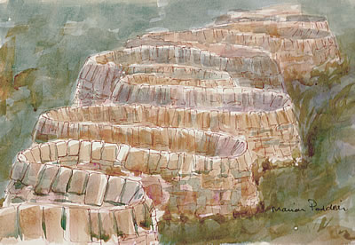 Drystone walls as an artform - my sketch of Andy Goldsworthy's wall at Stanford Campus in California