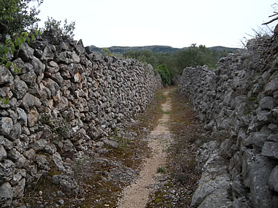 Drystone walls with walkway
