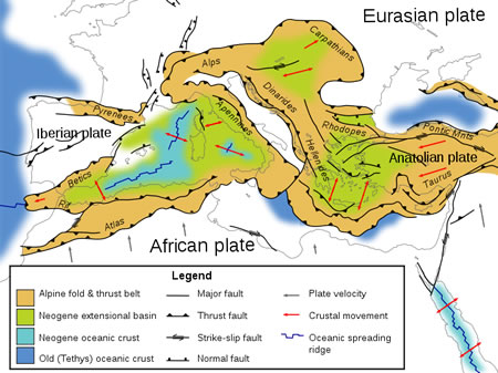 Tectonic Map of the Mediterranean