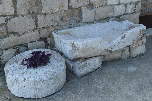 Stone press as planter