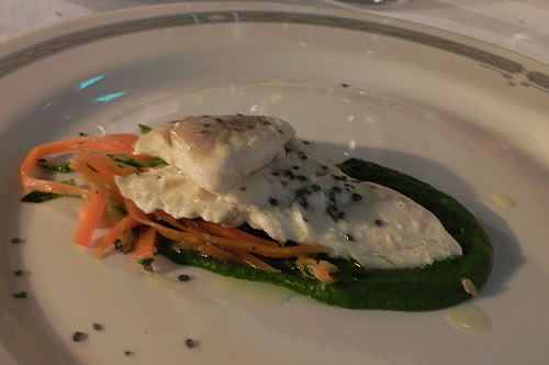 The main course - grilled sea-bass on creamed blitva and bean puree