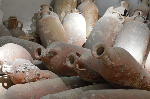 Amphorae from an ancient roman shipwreck
