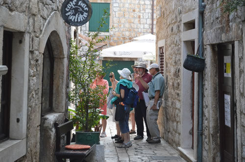 The group enjoying the old town of Stari Grad
