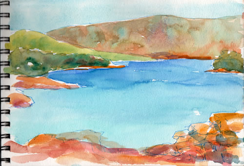 My painting of the north shore with the island of Brač