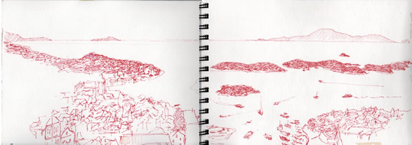 My sketch of Hvar spread across two pages!