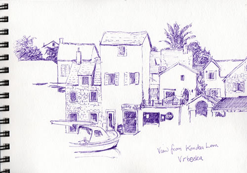 My sketch of the view from Konoba Lem