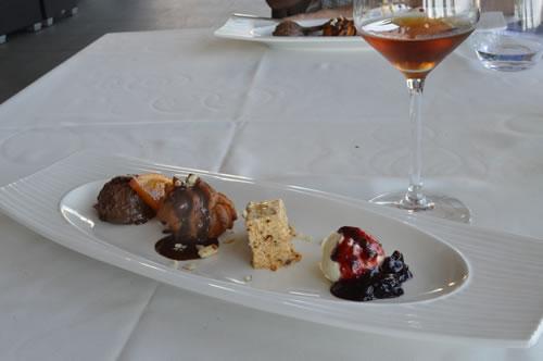 Dessert with a glass of prosek