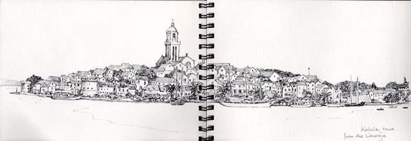 My drawing of Korčula from the ferry