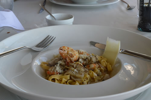 Tagliatelle with porcini, truffles and tiger prawns