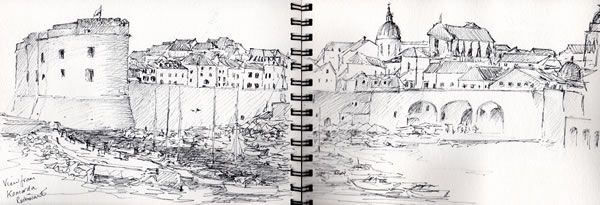My sketch of the harbour from Komarda restaurant