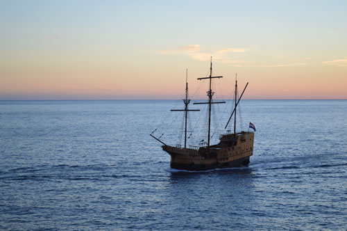 Galleon at sunset