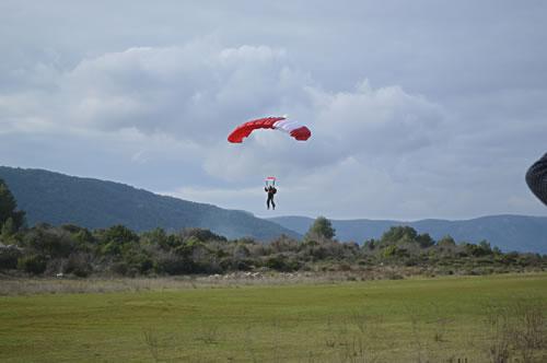 Incoming parachutist