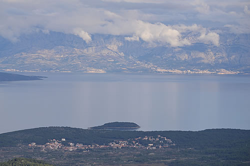Looking over Vrboska to Makarska on the mainland