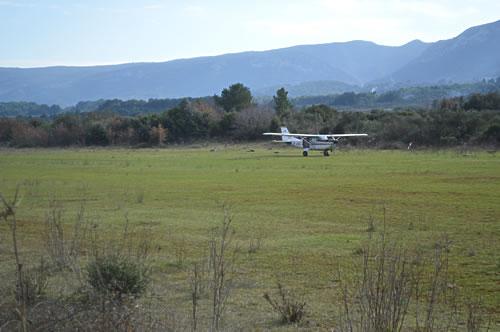 Plane arrives