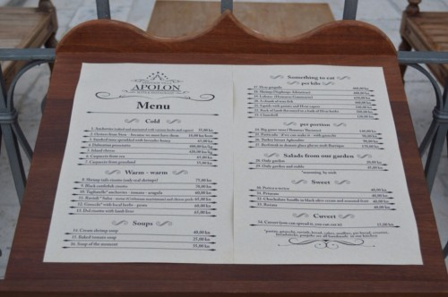 Apolon menu