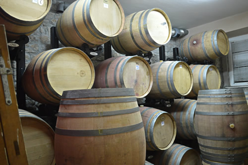 Barrique barrels at Suha Punta