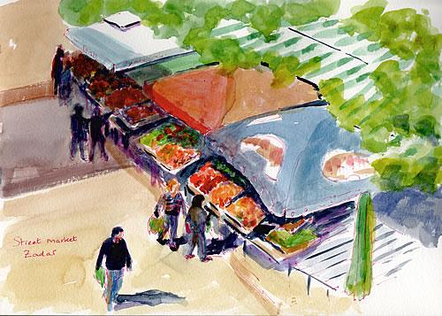 Sketch - Zadar street market