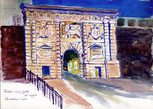 Sketch - Venetian gate at night