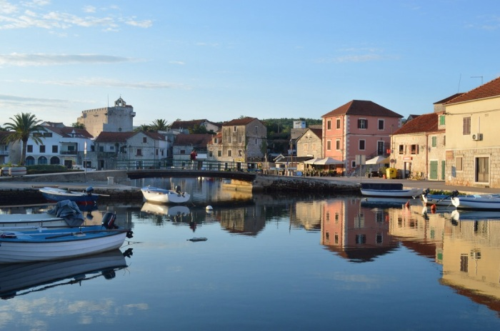 Vrboska waterfront at sunrise