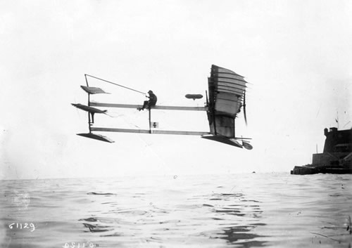 Henri Fabre at the controls of Le Canard, 1910