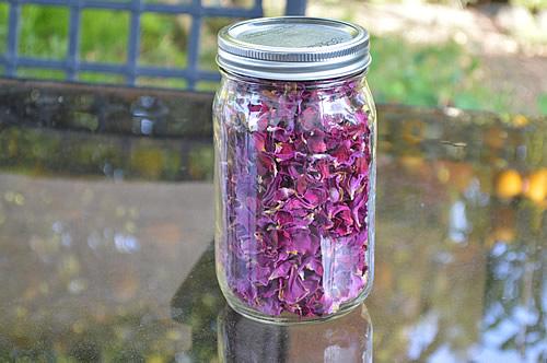 Jar of dried rose petals