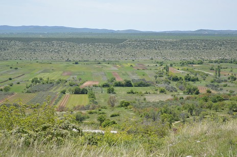 Farmland on the plain below