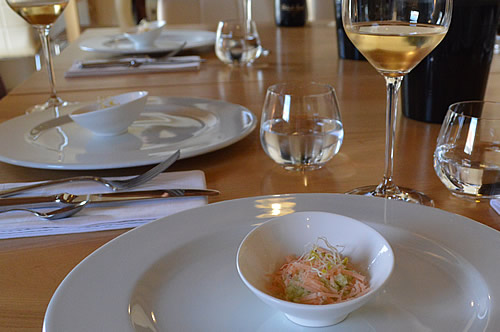 Bibich Brut with Granite of cucumber, smoked trout and bean sprouts