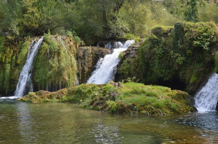 Waterfall with island