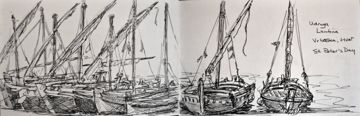 My sketch of the boats