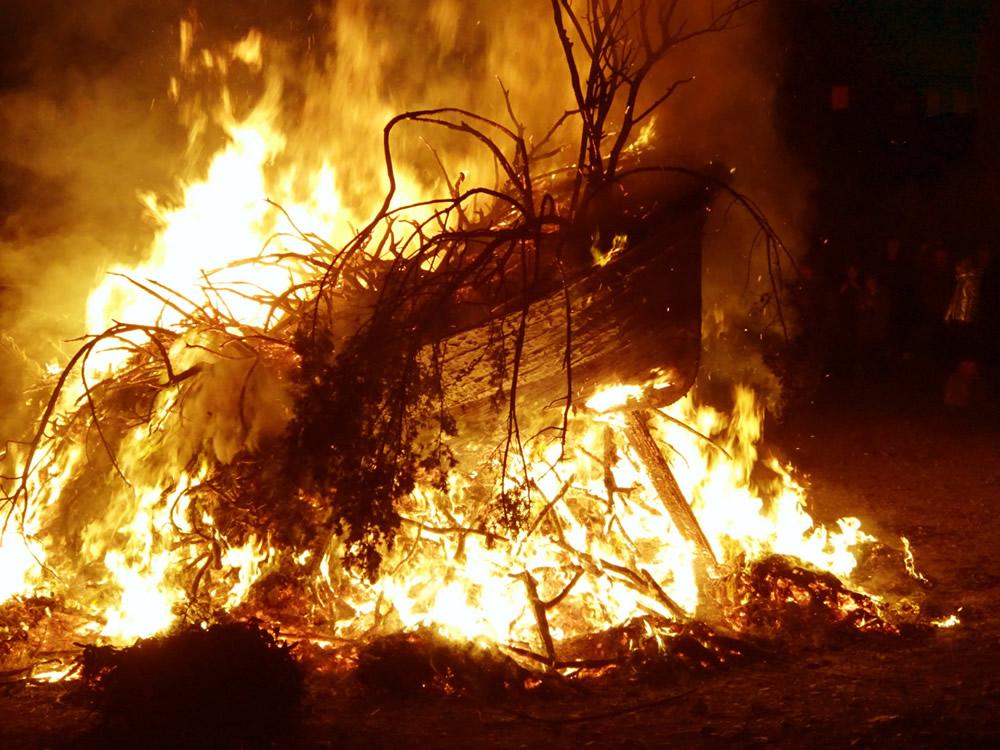 Boat in flames