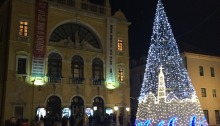 Split Theatre and Christmas tree