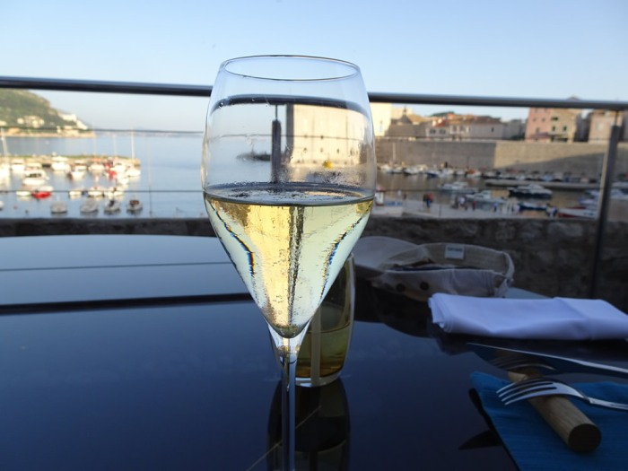 A glass of Tomac sparkling wine