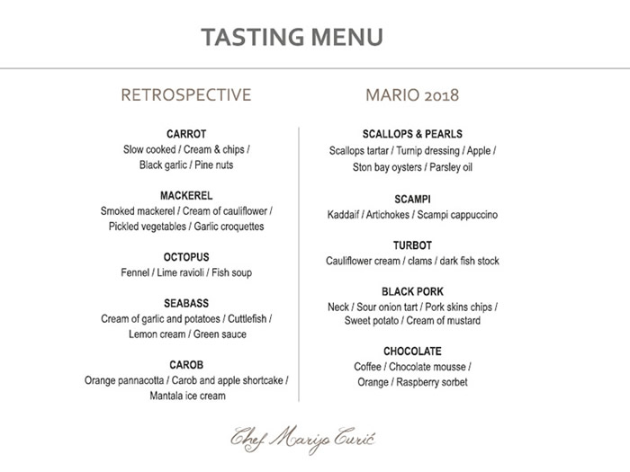 Tasting Menu - Retrospective earned them the Michelin star, while Marijo 2018 is the new direction