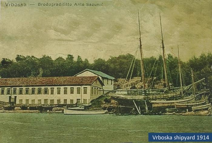Vrboska shipyard in 1914