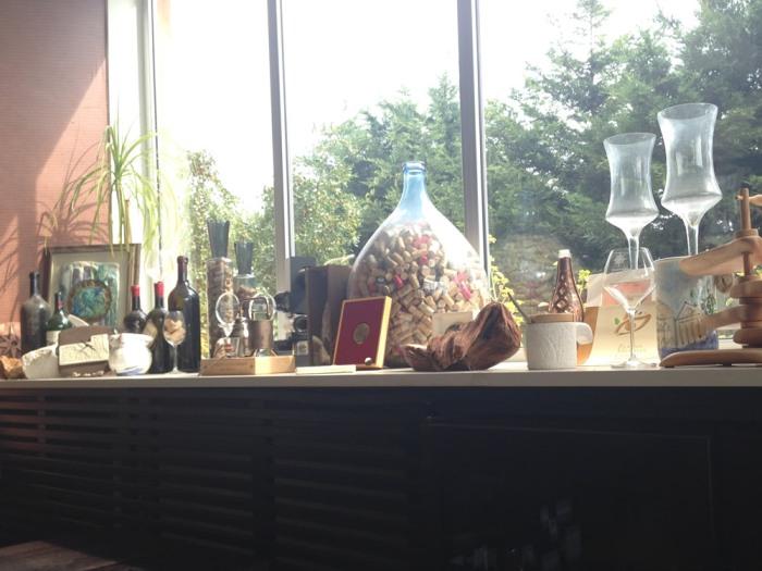 In a winery window
