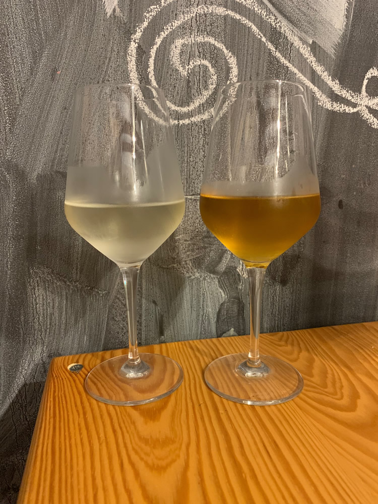 Comparing wines at Winebar LoLe